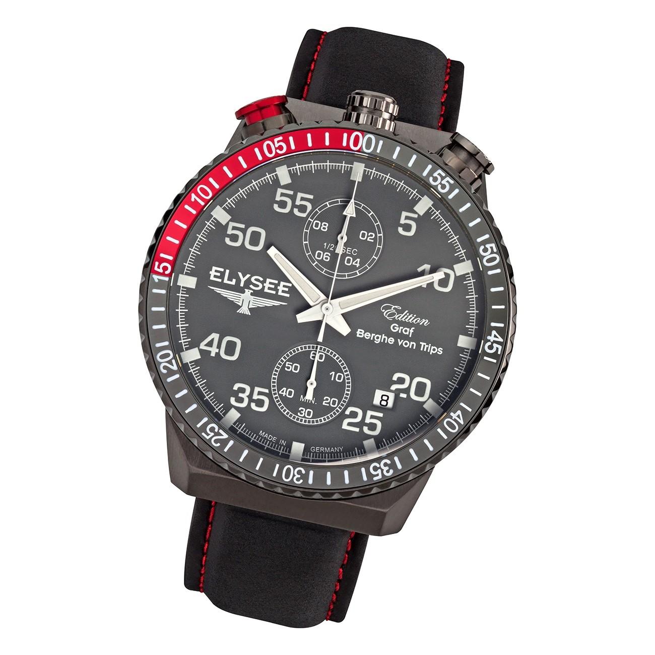 Elysee Herren Armbanduhr Rally Timer 80517 Chrono Leder schwarz UYS80517