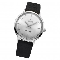 Fonderia Herren-Armbanduhr P-6A003US6 Quarz Leder-Armband schwarz UAP6A003US6