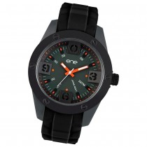 Ene Watch Modell 107 Man, schwarz, 48mm, Silikon-Armband UE72548