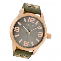Oozoo Damen Armbanduhr Timepieces C1153 46mm Quarz Leder olivgrün UOC1153
