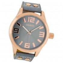OOZOO Damenuhr blaugrau/rosegold 46mm, Uhr mit Leder-Armband UOC1154