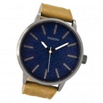 Oozoo Herren Armbanduhr silber Timepieces Quarz C9026 Lederarmband braun UOC9026