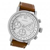 Oozoo Herren Armbanduhr silber Timepieces Quarz C9455 Lederarmband braun UOC9455