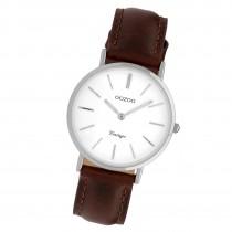 Oozoo Damenuhr Slim Quarzuhr mit braunem Leder-Armband UOC9835