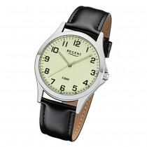Regent Herren Armbanduhr Analog 1112426 Quarz-Uhr Leder schwarz UR1112426
