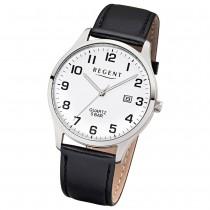Regent Herren-Armbanduhr F-1241 Quarz-Uhr Leder-Armband schwarz UR1113405