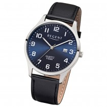 Regent Herren-Armbanduhr 32-1113409 Quarz-Uhr Leder-Armband schwarz UR1113409
