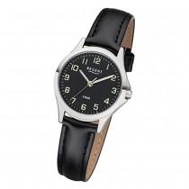 Regent Damen Armbanduhr Analog 2112419 Quarz-Uhr Leder schwarz UR2112419