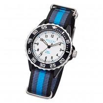 Regent Kinder Armbanduhr Analog F-1204 Quarz-Uhr Textil blau schwarz URBA383