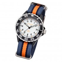 Regent Kinder Armbanduhr Analog F-1206 Quarz-Uhr Textil blau orange URBA385