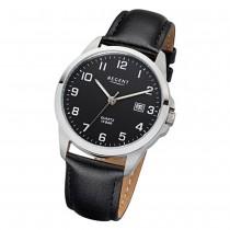 Regent Herren-Armbanduhr 32-F-1008 Quarz-Uhr Leder-Armband schwarz URF1008