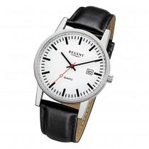 Regent Herren-Armbanduhr 32-F-1027 Quarz-Uhr Leder-Armband schwarz URF1027