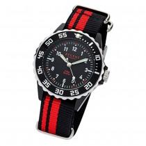 Regent Kinder, Jugend-Armbanduhr 32-F-1124 Textil Stoff-Armband schwarz rot URF1 URF1124