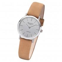 Regent Damen Armbanduhr Analog F-1223 Quarz-Uhr Leder braun URF1223
