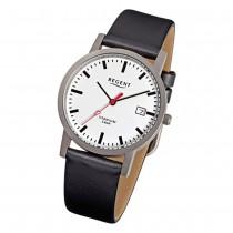 Regent Herren-Armbanduhr F-231 Titan-Uhr Leder-Armband schwarz URF231
