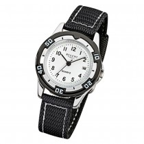 Regent Kinder-Armbanduhr F-318 Quarz-Uhr Textil-Stoff-Armband schwarz URF318