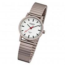 Regent Damen, Herren-Armbanduhr F-476 Quarz-Uhr Titan-Armband silber grau URF476
