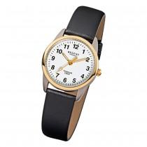 Regent Damen-Armbanduhr klassisch Titan Quarz-Uhr Leder schwarz weiß URF661