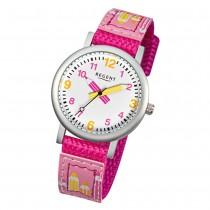 Regent Kinder Aluminium Armbanduhr Stifte Quarz Textil pink Mädchen Uhr URF730