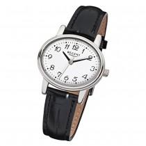 Regent Damen-Armbanduhr F-823 Quarz-Uhr Leder-Armband schwarz URF823