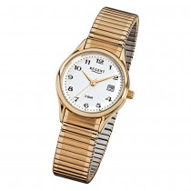 Regent Damen, Herren-Armbanduhr F-894 Quarz-Uhr Stahl-Armband gold URF894