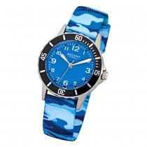 Regent Kinder-Armbanduhr F-940 Quarz-Uhr Textil, Stoff-Armband blau URF940