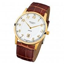 Regent Herren Armbanduhr Analog GM-1401 Quarz-Uhr Leder braun URGM1401
