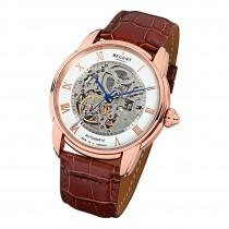 Regent Herren Armbanduhr skelettiertes Automatikwerk Leder braun Uhr URGM1433