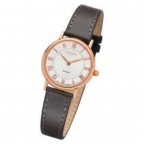 Regent Damen Armbanduhr Analog GM-1604 Quarz-Uhr Leder grau URGM1604