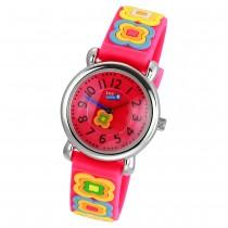Tee-Wee Kinderuhr pink Blumen 3D Kautschukband Kinder Uhren UW365P