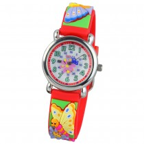 Tee-Wee Kinderuhr rot Schmetterling 3D Kautschukband Kinder Uhren UW753R