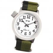 Ene Watch Modell 109 Nato, olive/weiß, 47mm, Nylon-Armband UE72180