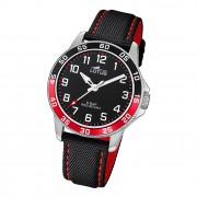 Lotus Jugend Armbanduhr Junior 18787/3 Analog Leder schwarz rot UL18787/3