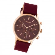 Oozoo Damen Armbanduhr Timepieces C10599 Analog Leder weinrot UOC10599