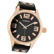 OOZOO Damenuhr schwarz/rosegold 46mm, Uhr mit Leder-Armband UOC1159