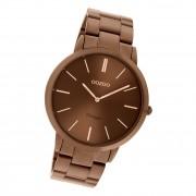 Oozoo Damen Herren Armbanduhr Ultra Slim C20103 Analog Edelstahl braun UOC20103