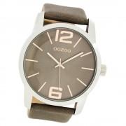 Oozoo Herren Damen-Uhr Timepieces Quarzuhr Leder-Armband grau braun UOC7413