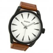 Oozoo Herren Armbanduhr schwarz Timepieces C8226 Lederarmband braun UOC8226