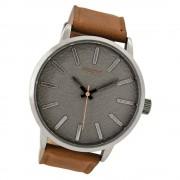 Oozoo Herren Armbanduhr silber Timepieces Quarz C9025 Lederarmband braun UOC9025