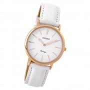 Oozoo Damen Armbanduhr rosegold Ultra Slim Quarz C9317 Lederarmband weiß UOC9317