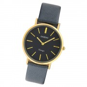 Oozoo Damen Armbanduhr Ultra Slim C9974 Quarzwerk Leder dunkelgrau UOC9974