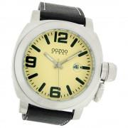 Oozoo Herren-Uhr Steel Quarzuhr Leder-Armband dunkelbraun UOOS014