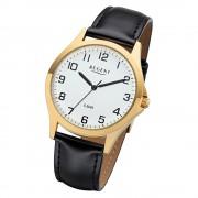 Regent Herren Armbanduhr Analog 1103482 Quarz-Uhr Leder schwarz UR1103482