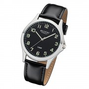 Regent Herren Armbanduhr Analog 1112420 Quarz-Uhr Leder schwarz UR1112420