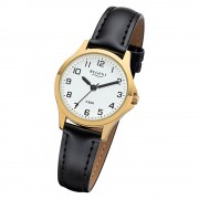 Regent Damen Armbanduhr Analog 2103484 Quarz-Uhr Leder schwarz UR2103484