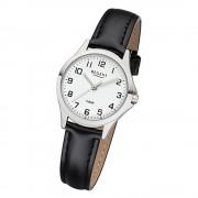 Regent Damen Armbanduhr Analog 2112418 Quarz-Uhr Leder schwarz UR2112418