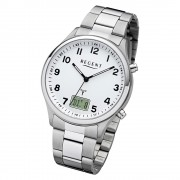 Regent Herren Armbanduhr Analog-Digital BA-444 Funk-Uhr Metall silber URBA444