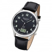 Regent Herren Armbanduhr Analog-Digital BA-447 Funk-Uhr Leder schwarz URBA447