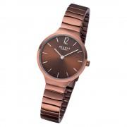Regent Damen Armbanduhr Analog BA-556 Quarz-Uhr Edelstahl braun URBA556