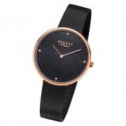 Regent Damen Armbanduhr Analog BA-568 Quarz-Uhr Edelstahl schwarz URBA568